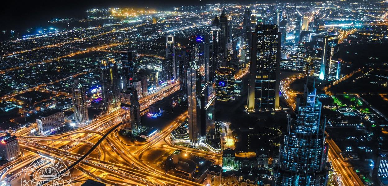 Ausblick vom Burj Khalifa bei Nacht